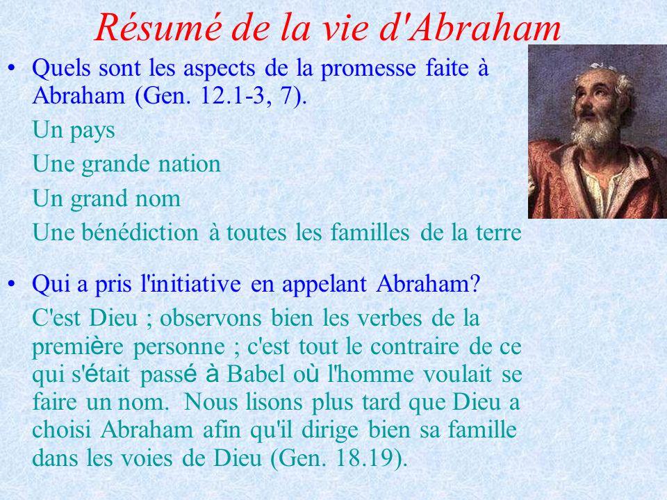 Résumé de la vie d'Abraham Quels sont les aspects de la promesse faite à Abraham (Gen. 12.1-3, 7). Un pays Une grande nation Un grand nom Une bénédict