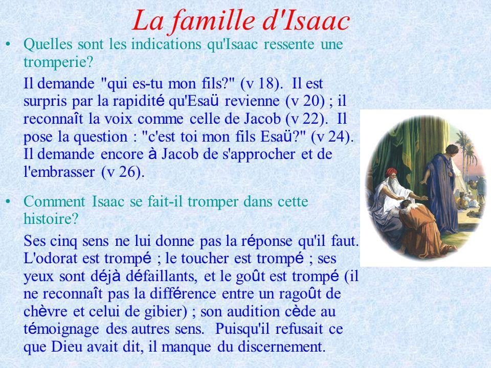 La famille d'Isaac Quelles sont les indications qu'Isaac ressente une tromperie? Il demande