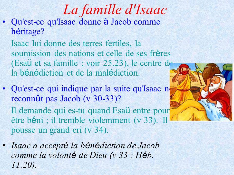 La famille d'Isaac Qu'est-ce qu'Isaac donne à Jacob comme h é ritage? Isaac lui donne des terres fertiles, la soumission des nations et celle de ses f