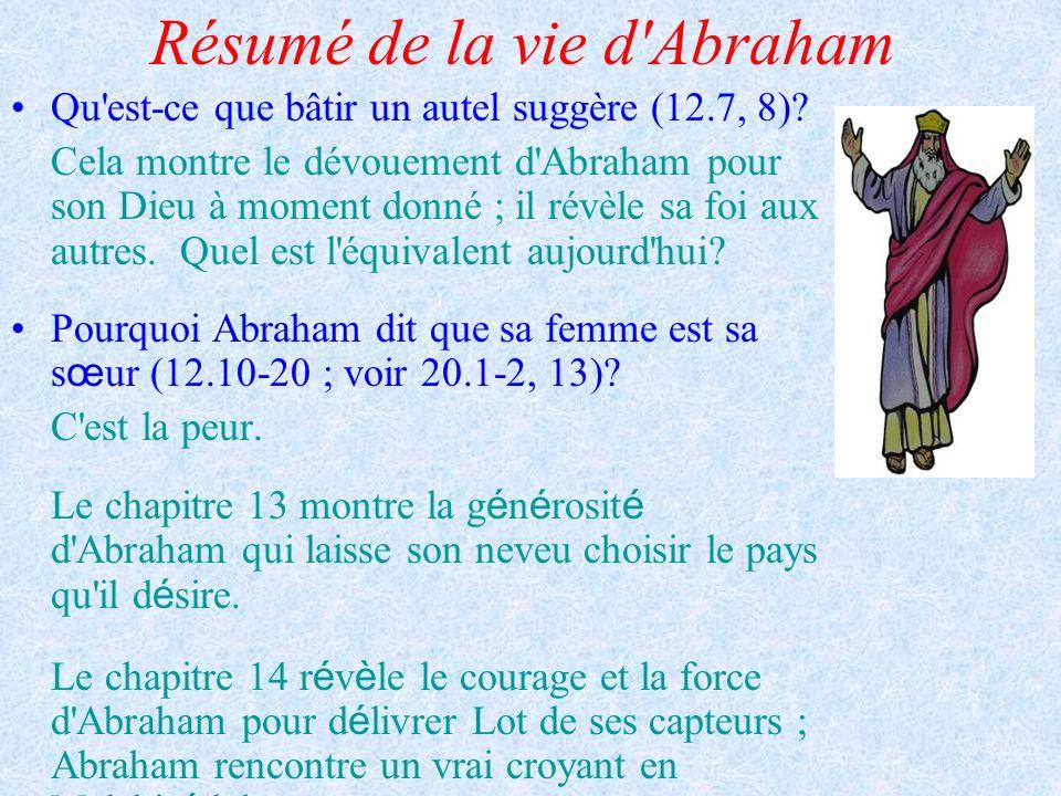 Résumé de la vie d'Abraham Qu'est-ce que bâtir un autel suggère (12.7, 8)? Cela montre le dévouement d'Abraham pour son Dieu à moment donné ; il révèl