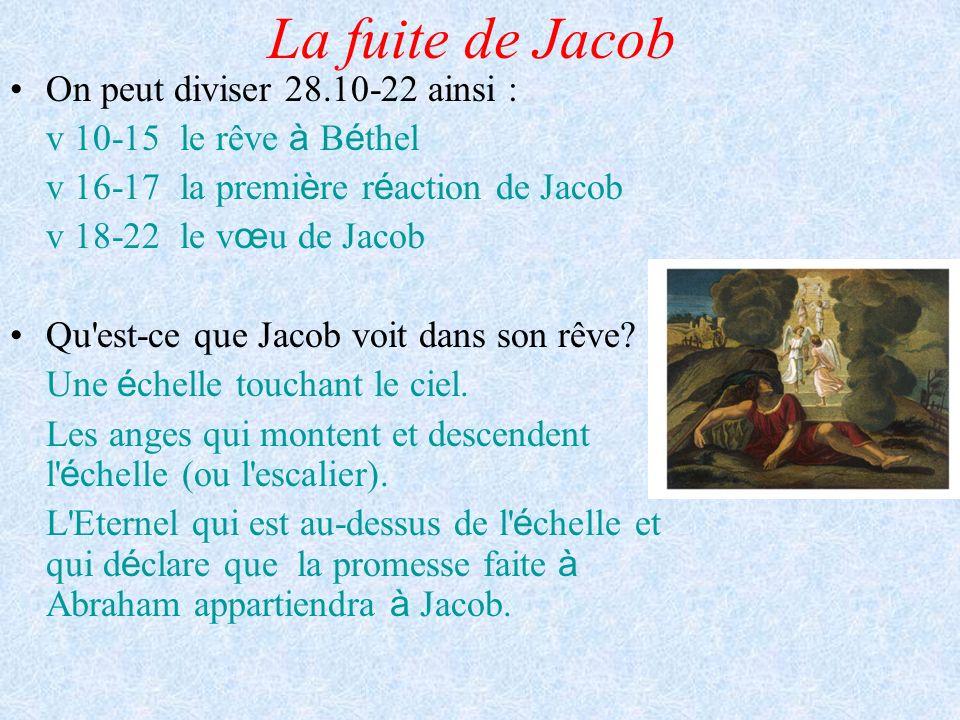 La fuite de Jacob On peut diviser 28.10-22 ainsi : v 10-15 le rêve à B é thel v 16-17 la premi è re r é action de Jacob v 18-22 le v œ u de Jacob Qu'e