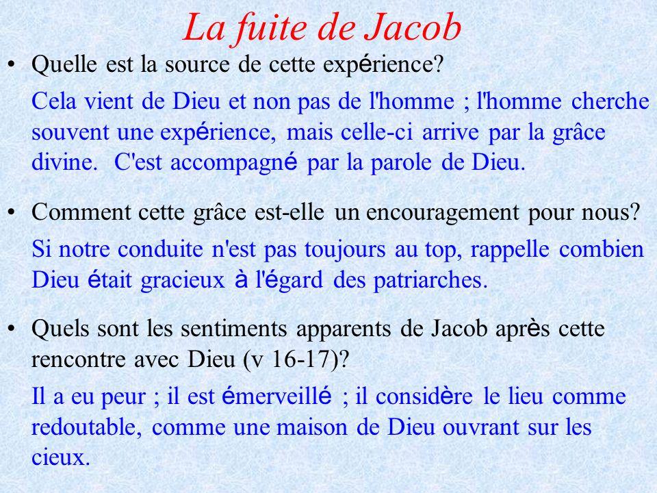La fuite de Jacob Quelle est la source de cette exp é rience? Cela vient de Dieu et non pas de l'homme ; l'homme cherche souvent une exp é rience, mai