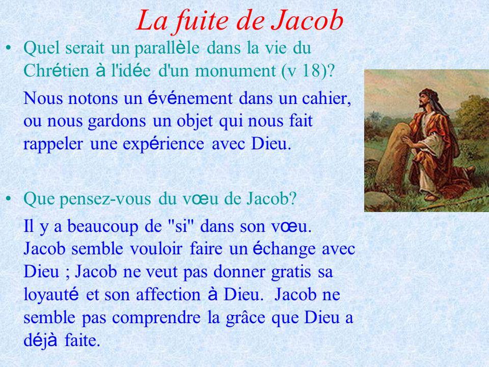 La fuite de Jacob Quel serait un parall è le dans la vie du Chr é tien à l'id é e d'un monument (v 18)? Nous notons un é v é nement dans un cahier, ou