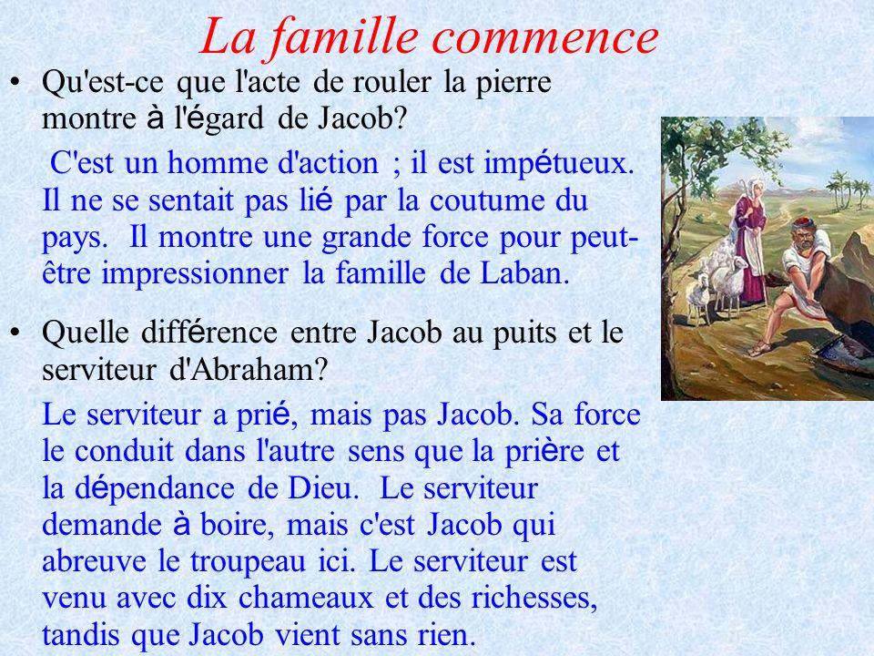 La famille commence Qu'est-ce que l'acte de rouler la pierre montre à l' é gard de Jacob? C'est un homme d'action ; il est imp é tueux. Il ne se senta
