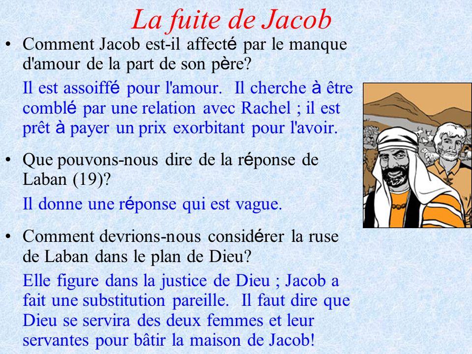 La fuite de Jacob Comment Jacob est-il affect é par le manque d'amour de la part de son p è re? Il est assoiff é pour l'amour. Il cherche à être combl