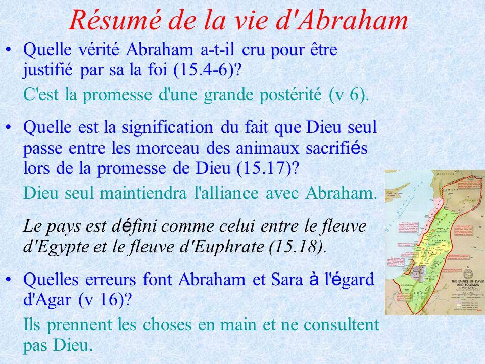Résumé de la vie d'Abraham Quelle vérité Abraham a-t-il cru pour être justifié par sa la foi (15.4-6)? C'est la promesse d'une grande postérité (v 6).