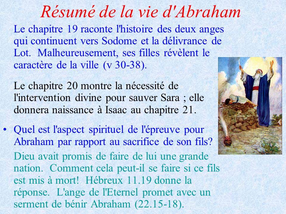 Résumé de la vie d'Abraham Le chapitre 19 raconte l'histoire des deux anges qui continuent vers Sodome et la délivrance de Lot. Malheureusement, ses f