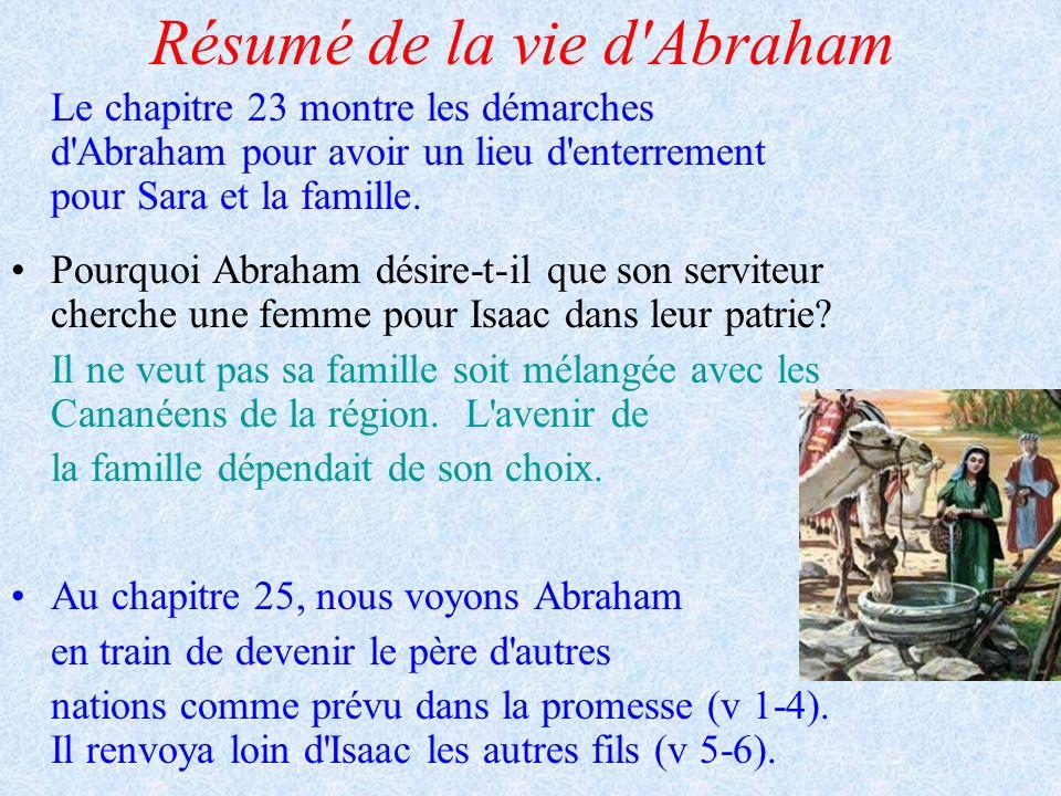 Résumé de la vie d'Abraham Le chapitre 23 montre les démarches d'Abraham pour avoir un lieu d'enterrement pour Sara et la famille. Pourquoi Abraham dé