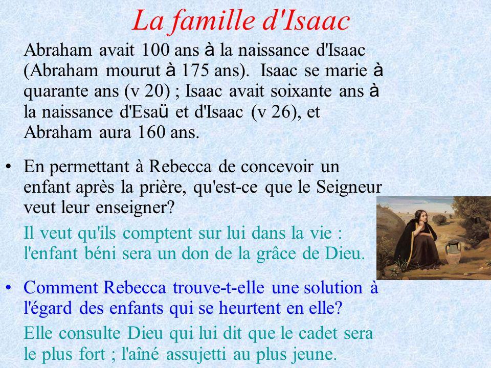 La famille d'Isaac Abraham avait 100 ans à la naissance d'Isaac (Abraham mourut à 175 ans). Isaac se marie à quarante ans (v 20) ; Isaac avait soixant