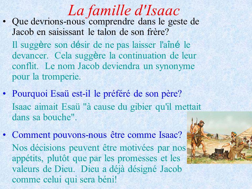 La famille d'Isaac Que devrions-nous comprendre dans le geste de Jacob en saisissant le talon de son frère? Il sugg è re son d é sir de ne pas laisser
