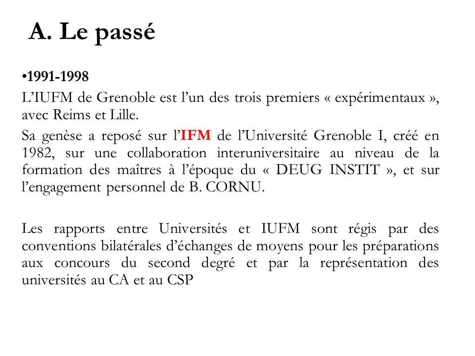 A. Le passé 1991-1998 LIUFM de Grenoble est lun des trois premiers « expérimentaux », avec Reims et Lille. Sa genèse a reposé sur lIFM de lUniversité