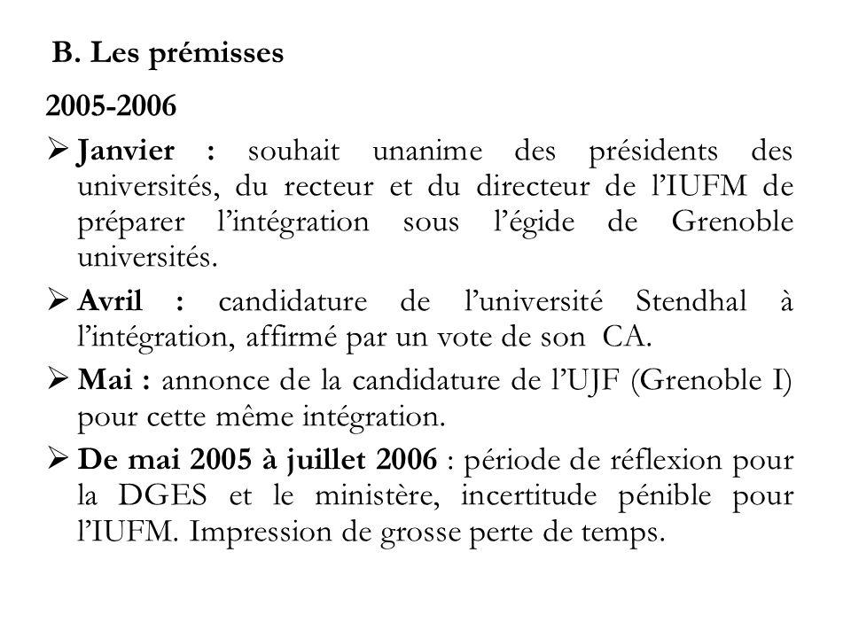B. Les prémisses 2005-2006 Janvier : souhait unanime des présidents des universités, du recteur et du directeur de lIUFM de préparer lintégration sous