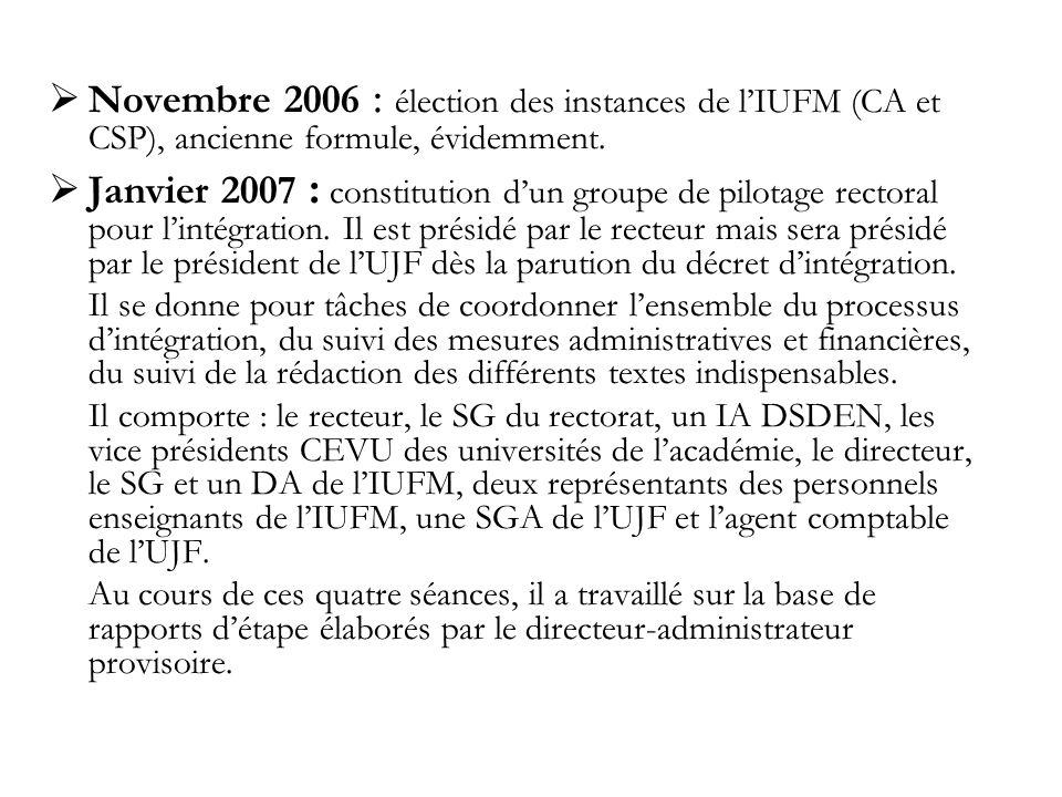 Novembre 2006 : élection des instances de lIUFM (CA et CSP), ancienne formule, évidemment.
