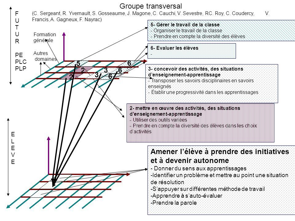 5- Gérer le travail de la classe - Organiser le travail de la classe - Prendre en compte la diversité des élèves F U T U R PE PLC PLP ELEVEELEVE Groupe transversal (C.