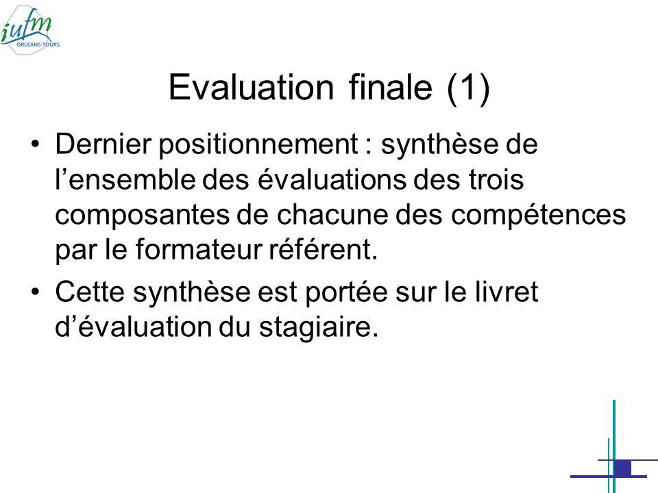 Evaluation finale (2) la sous-commission dévaluation des compétences présidée par le responsable de site (1 er degré) ou un membre du conseil de direction (2 d degré) formule, sur le livret dévaluation du stagiaire, un avis synthétique relatif au niveau de maîtrise de chaque compétence.
