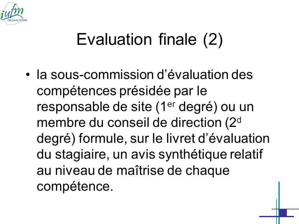 Evaluation finale (3) Cet avis prépare celui de la commission dévaluation présidée par le directeur de lIUFM « rendant compte de la maîtrise des compétences attendues à la fin de lannée de stage » (arrêtés du 9 mai 2007).