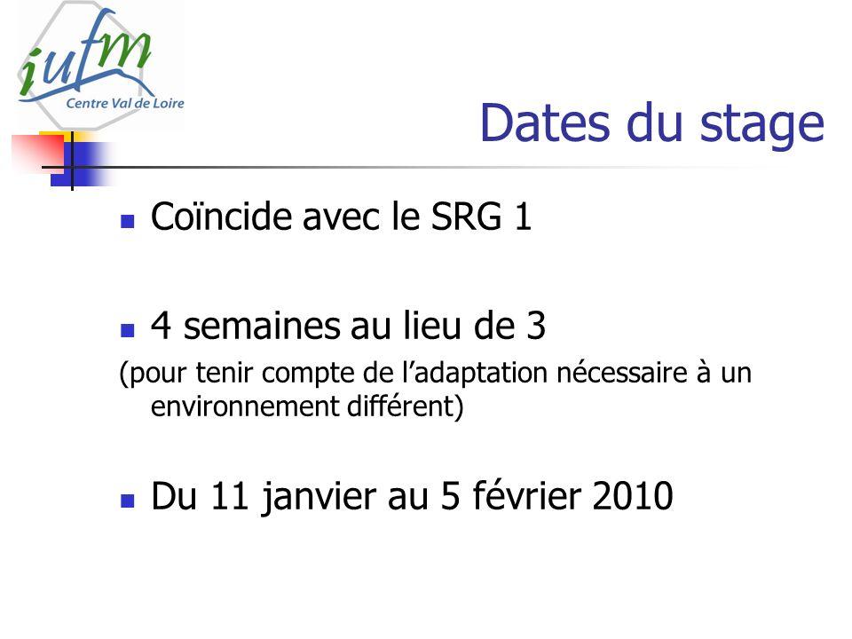 Dates du stage Coïncide avec le SRG 1 4 semaines au lieu de 3 (pour tenir compte de ladaptation nécessaire à un environnement différent) Du 11 janvier au 5 février 2010