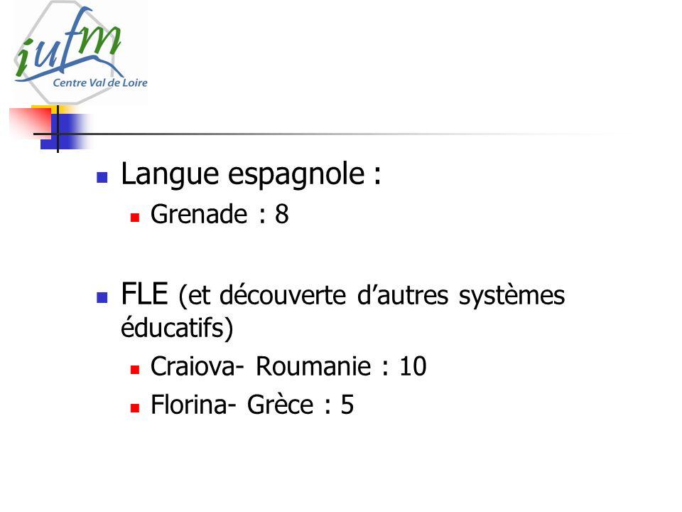 Langue espagnole : Grenade : 8 FLE (et découverte dautres systèmes éducatifs) Craiova- Roumanie : 10 Florina- Grèce : 5