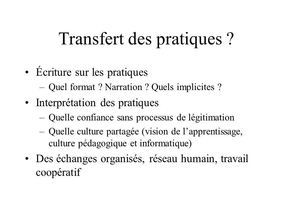 Transfert des pratiques ? Écriture sur les pratiques –Quel format ? Narration ? Quels implicites ? Interprétation des pratiques –Quelle confiance sans