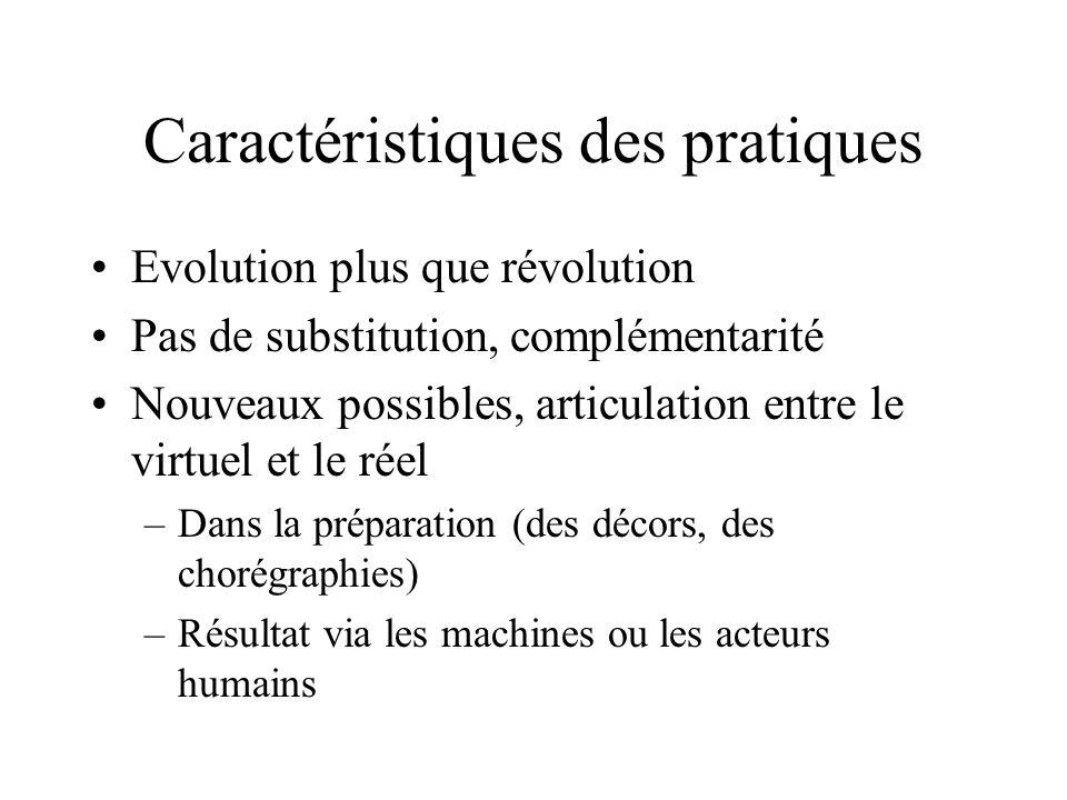 Caractéristiques des pratiques Evolution plus que révolution Pas de substitution, complémentarité Nouveaux possibles, articulation entre le virtuel et