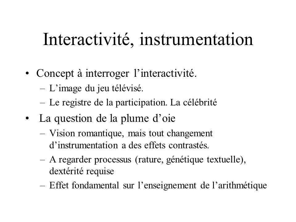 Interactivité, instrumentation Concept à interroger linteractivité. –Limage du jeu télévisé. –Le registre de la participation. La célébrité La questio