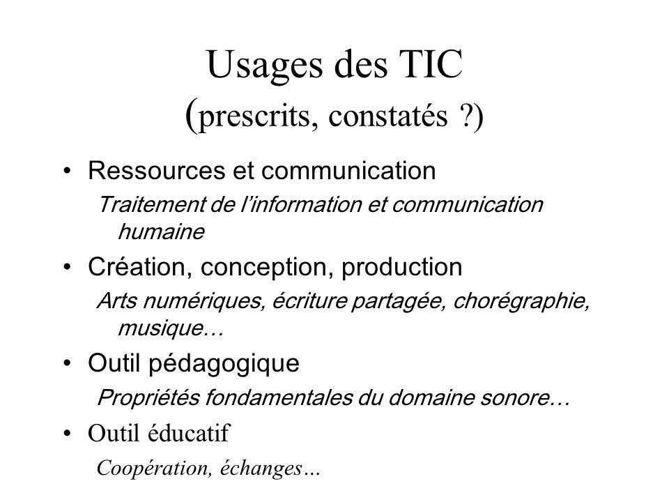 Usages des TIC ( prescrits, constatés ?) Ressources et communication Traitement de linformation et communication humaine Création, conception, product