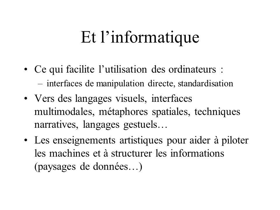 Et linformatique Ce qui facilite lutilisation des ordinateurs : –interfaces de manipulation directe, standardisation Vers des langages visuels, interf