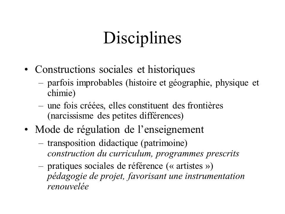 Disciplines Constructions sociales et historiques –parfois improbables (histoire et géographie, physique et chimie) –une fois créées, elles constituen