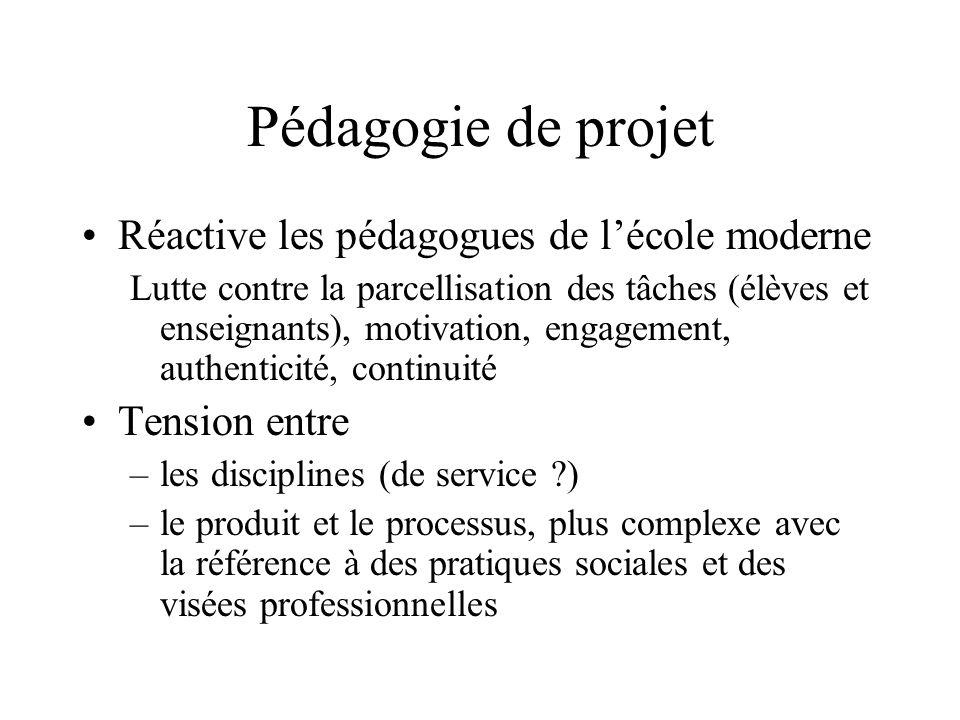 Pédagogie de projet Réactive les pédagogues de lécole moderne Lutte contre la parcellisation des tâches (élèves et enseignants), motivation, engagemen