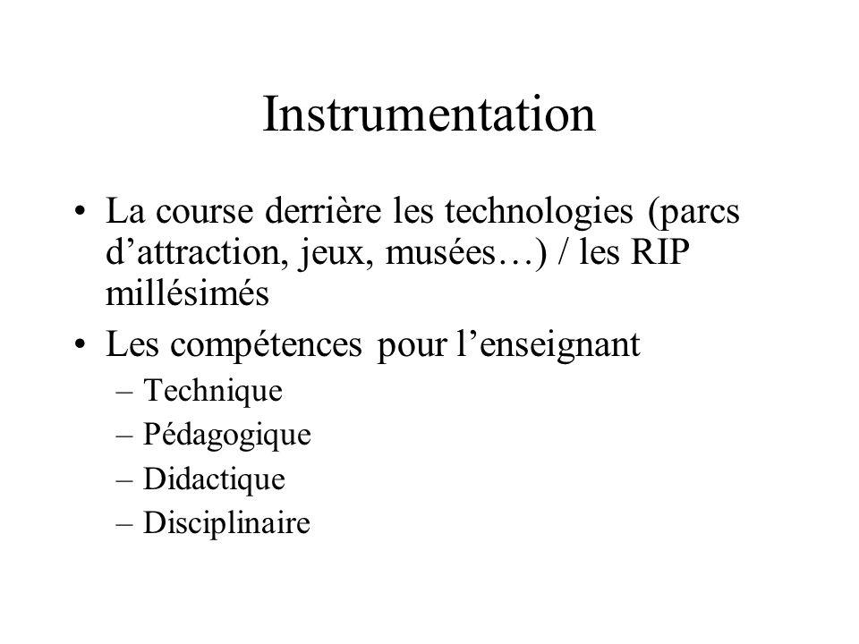 Instrumentation La course derrière les technologies (parcs dattraction, jeux, musées…) / les RIP millésimés Les compétences pour lenseignant –Techniqu