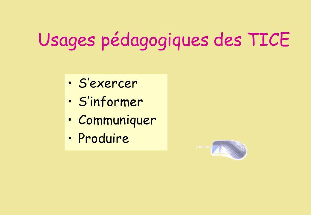 Usages pédagogiques des TICE Sexercer Sinformer Communiquer Produire