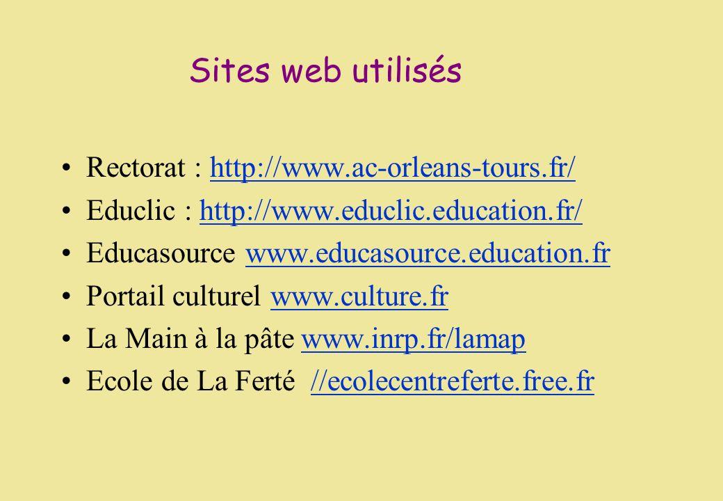 Sites web utilisés Rectorat : http://www.ac-orleans-tours.fr/http://www.ac-orleans-tours.fr/ Educlic : http://www.educlic.education.fr/http://www.educ