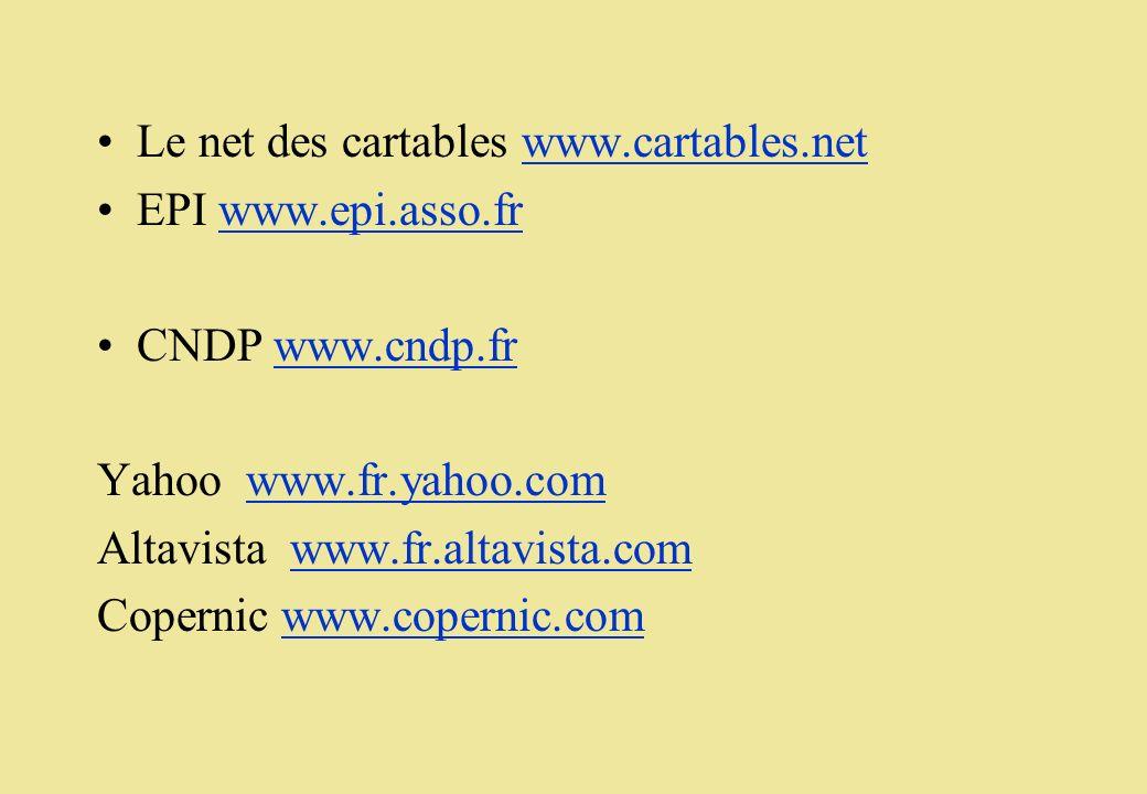 Le net des cartables www.cartables.netwww.cartables.net EPI www.epi.asso.frwww.epi.asso.fr CNDP www.cndp.frwww.cndp.fr Yahoo www.fr.yahoo.comwww.fr.ya