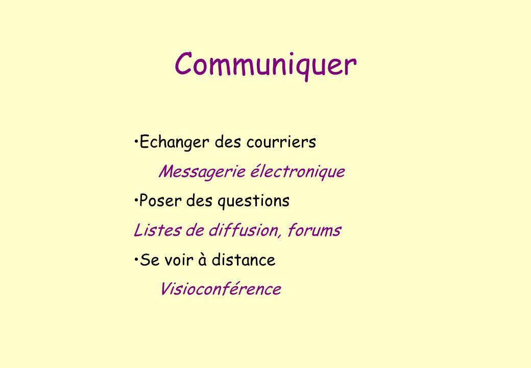 Echanger des courriers Messagerie électronique Poser des questions Listes de diffusion, forums Se voir à distance Visioconférence Communiquer