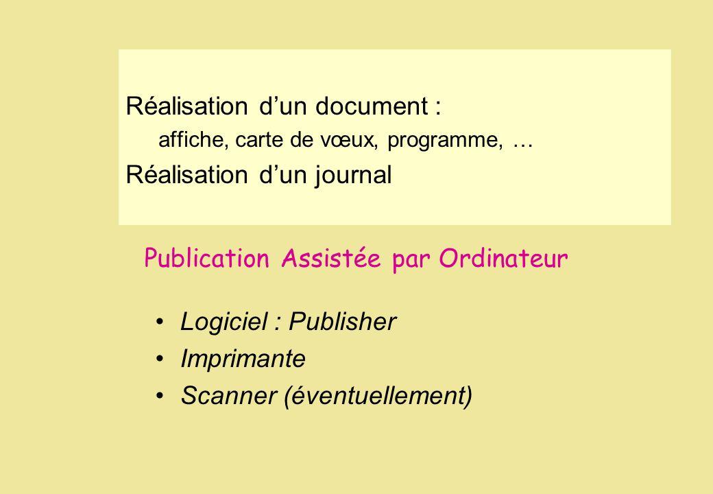 Publication Assistée par Ordinateur Logiciel : Publisher Imprimante Scanner (éventuellement) Réalisation dun document : affiche, carte de vœux, progra