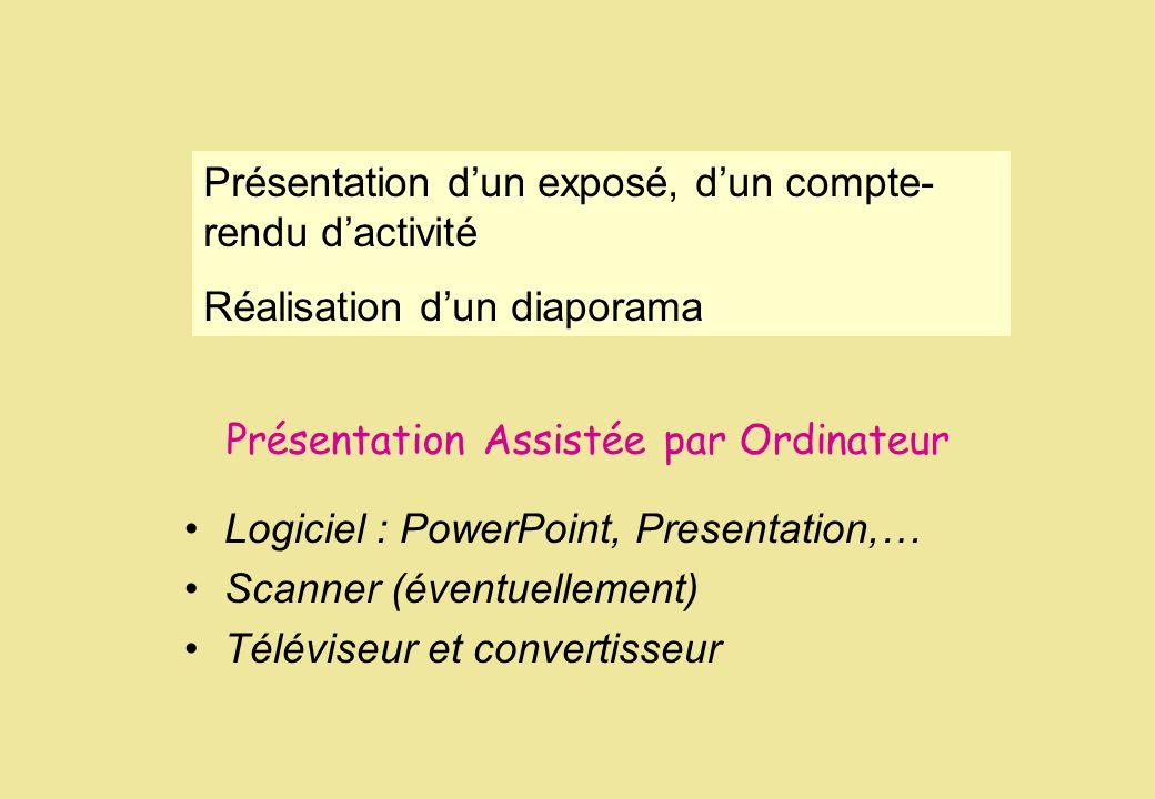 Présentation Assistée par Ordinateur Logiciel : PowerPoint, Presentation,… Scanner (éventuellement) Téléviseur et convertisseur Présentation dun expos