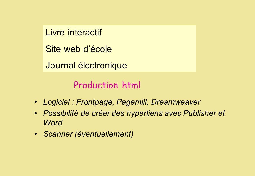 Production html Logiciel : Frontpage, Pagemill, Dreamweaver Possibilité de créer des hyperliens avec Publisher et Word Scanner (éventuellement) Livre