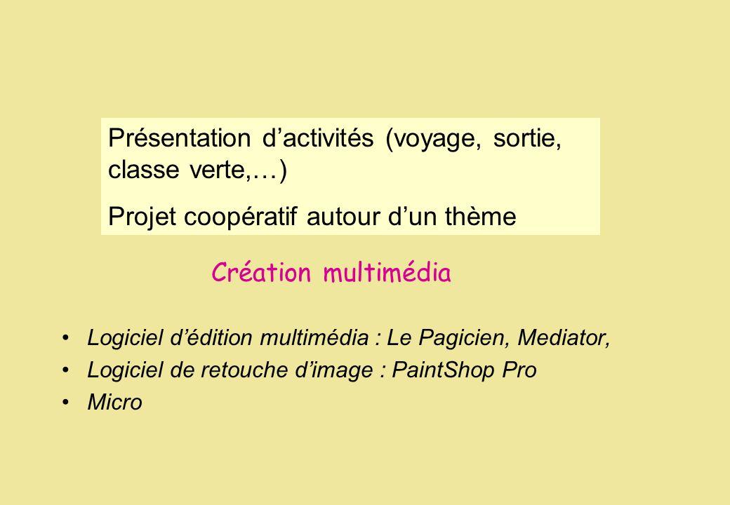 Création multimédia Logiciel dédition multimédia : Le Pagicien, Mediator, Logiciel de retouche dimage : PaintShop Pro Micro Présentation dactivités (v