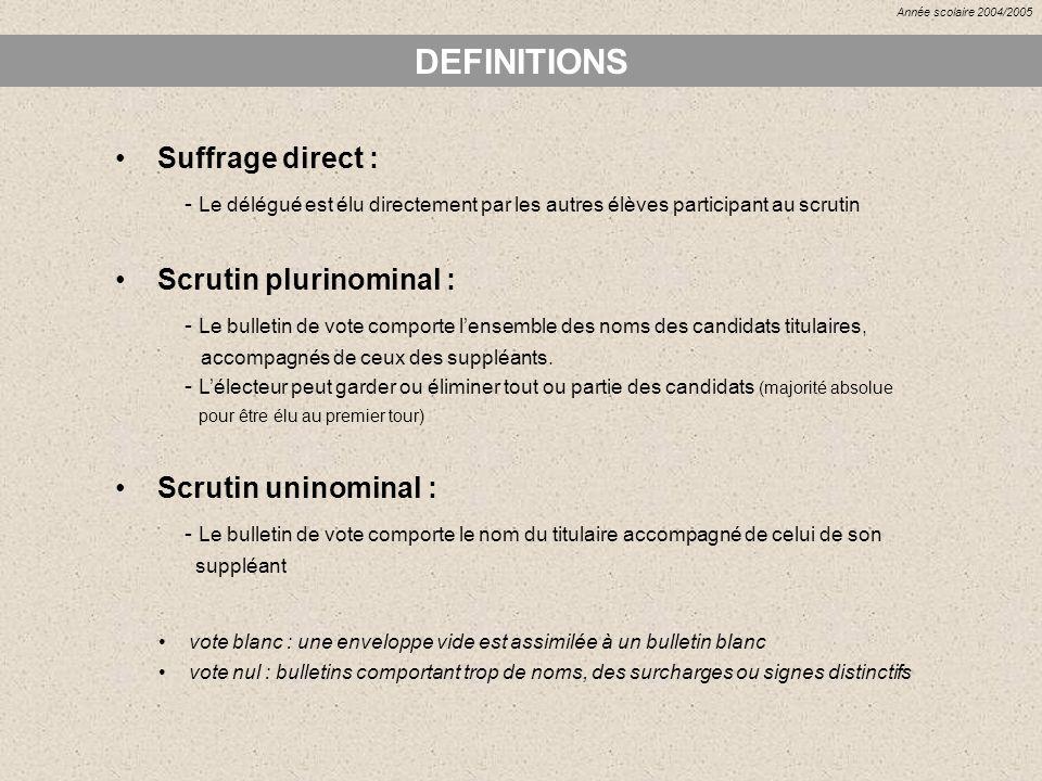DEFINITIONS Suffrage direct : - Le délégué est élu directement par les autres élèves participant au scrutin Scrutin plurinominal : - Le bulletin de vo