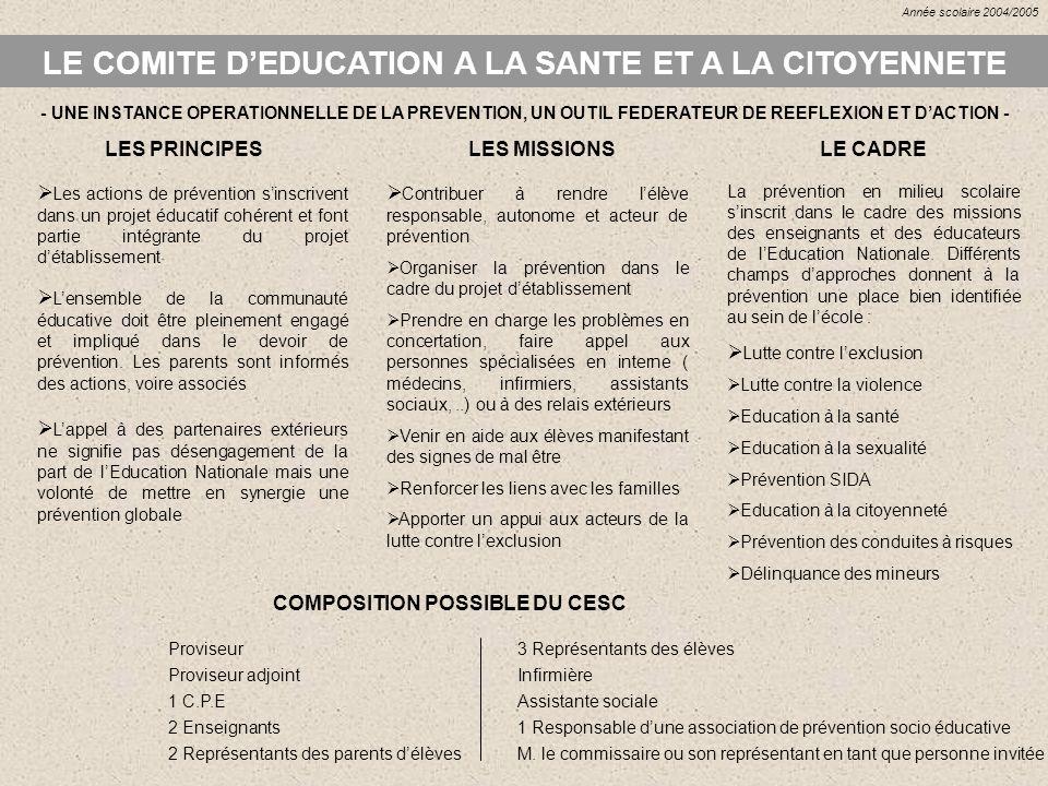 LE COMITE DEDUCATION A LA SANTE ET A LA CITOYENNETE LES PRINCIPES Lensemble de la communauté éducative doit être pleinement engagé et impliqué dans le