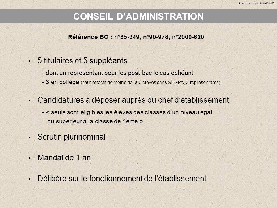 CONSEIL DADMINISTRATION Référence BO : n°85-349, n°90-978, n°2000-620 5 titulaires et 5 suppléants - dont un représentant pour les post-bac le cas éch