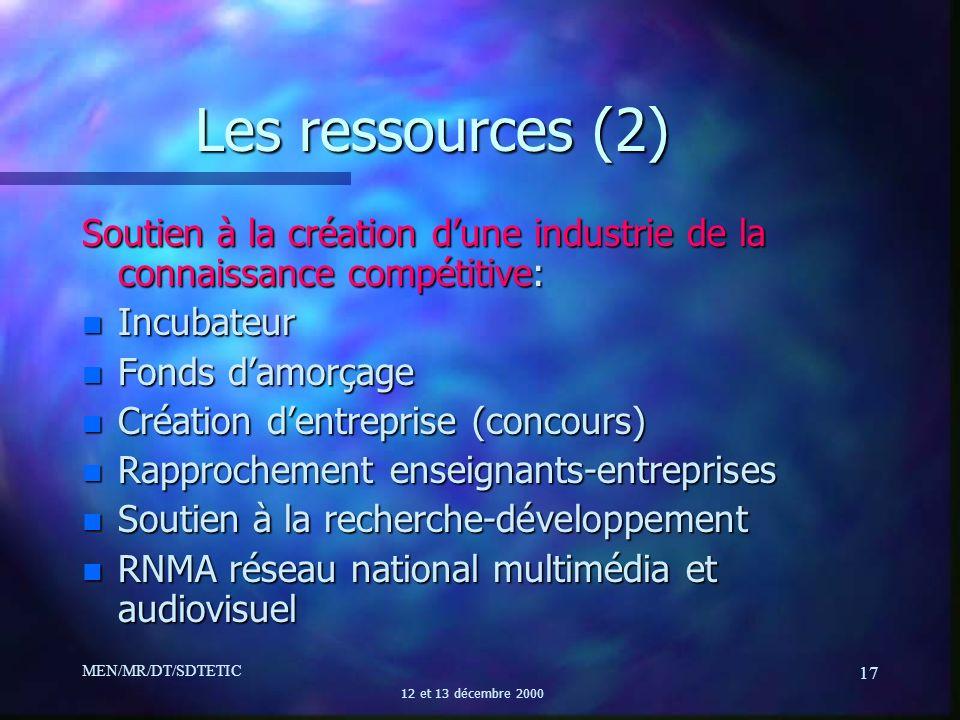MEN/MR/DT/SDTETIC 12 et 13 décembre 2000 17 Les ressources (2) Soutien à la création dune industrie de la connaissance compétitive: n Incubateur n Fon