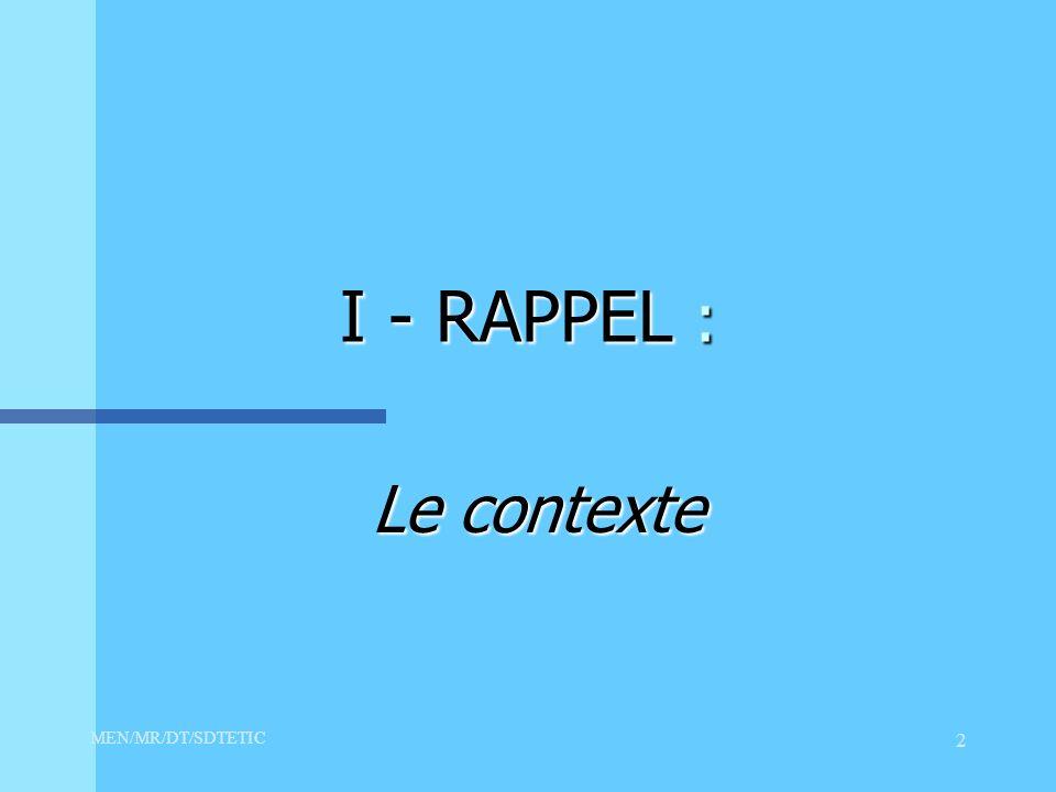 MEN/MR/DT/SDTETIC 2 I - RAPPEL : Le contexte