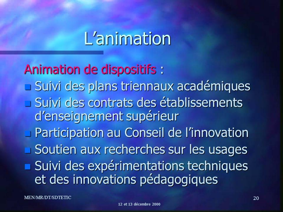 MEN/MR/DT/SDTETIC 12 et 13 décembre 2000 20 Lanimation Animation de dispositifs : n Suivi des plans triennaux académiques n Suivi des contrats des éta