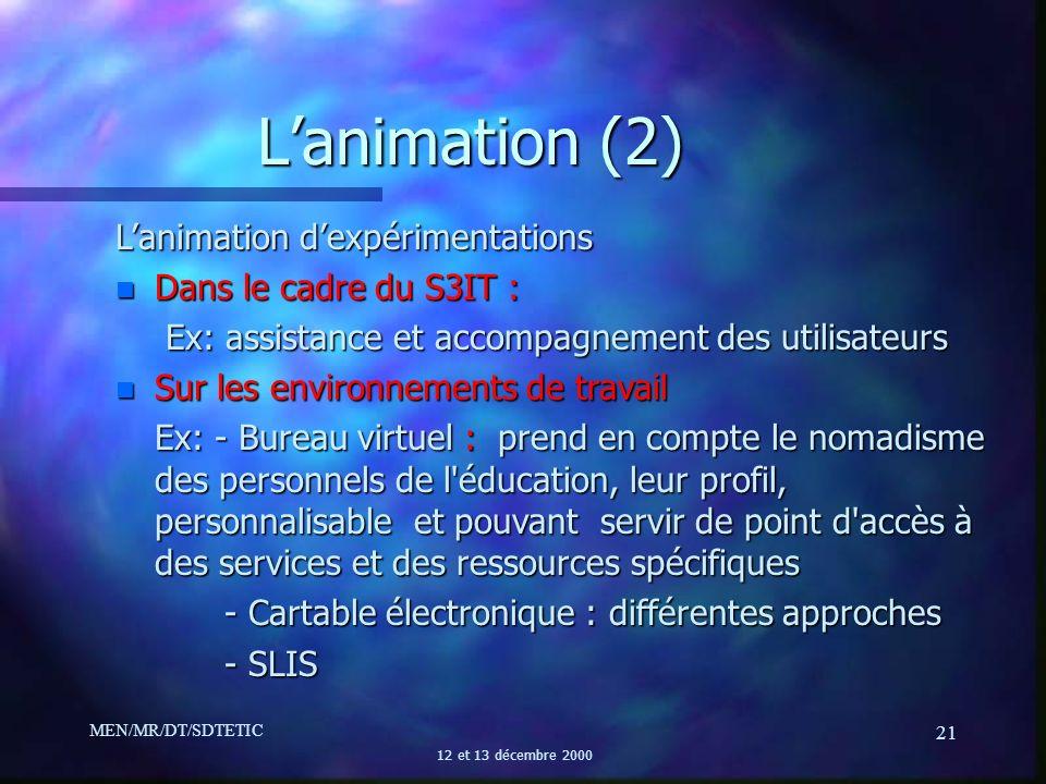 MEN/MR/DT/SDTETIC 12 et 13 décembre 2000 21 Lanimation (2) Lanimation dexpérimentations n Dans le cadre du S3IT : Ex: assistance et accompagnement des