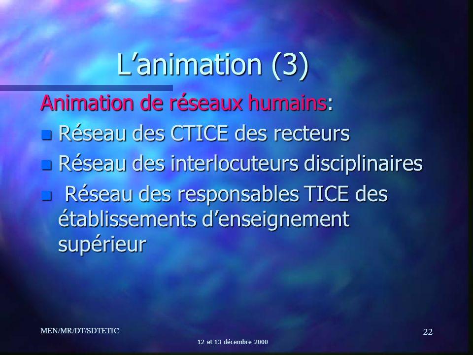 MEN/MR/DT/SDTETIC 12 et 13 décembre 2000 22 Animation de réseaux humains: n Réseau des CTICE des recteurs n Réseau des interlocuteurs disciplinaires n