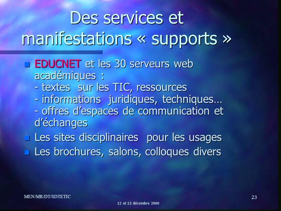 MEN/MR/DT/SDTETIC 12 et 13 décembre 2000 23 Des services et manifestations « supports » n EDUCNET et les 30 serveurs web académiques : - textes sur le