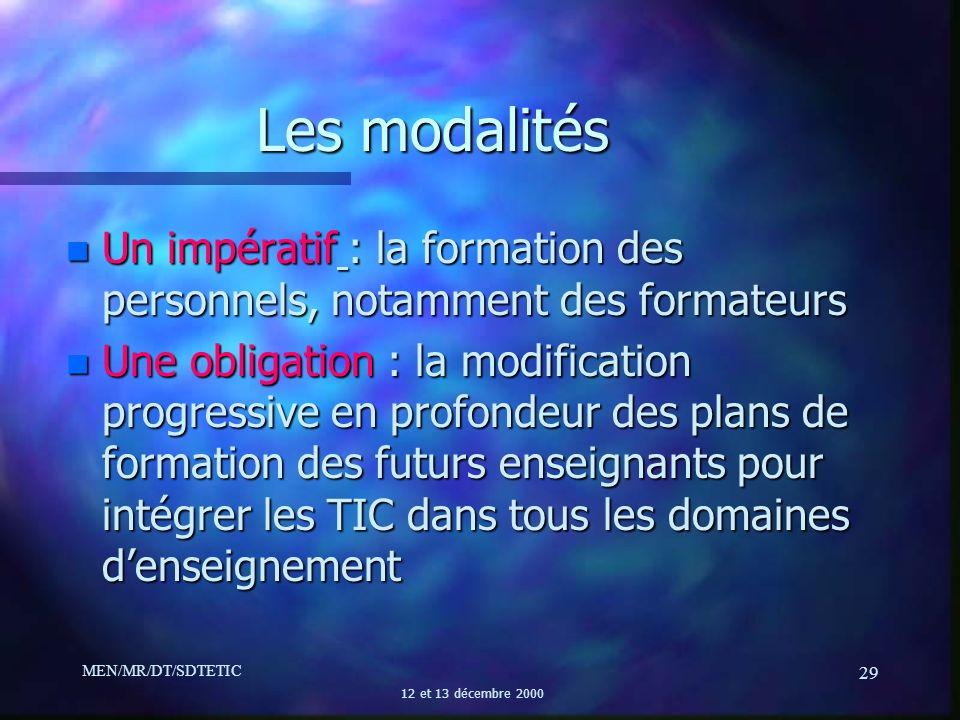MEN/MR/DT/SDTETIC 12 et 13 décembre 2000 29 n Un impératif : la formation des personnels, notamment des formateurs n Une obligation : la modification