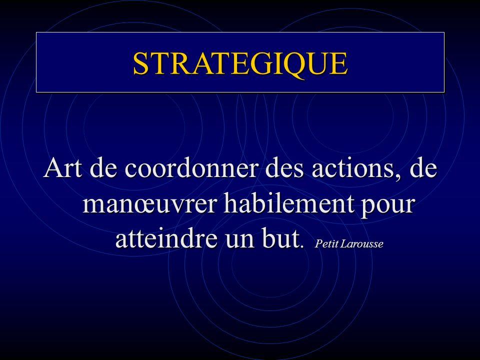 STRATEGIQUESTRATEGIQUE Art de coordonner des actions, de manœuvrer habilement pour atteindre un but. Petit Larousse