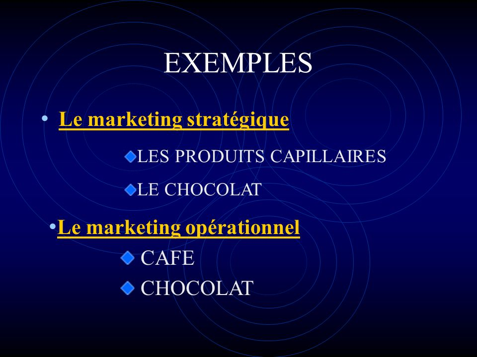 EXEMPLES Le marketing stratégique LES PRODUITS CAPILLAIRES LE CHOCOLAT Le marketing opérationnel CAFE CHOCOLAT